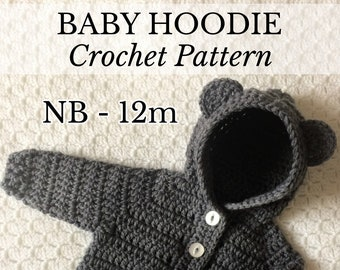 PDF NB-12m Baby Hoodie, New Baby Crochet, Crochet Hoodie, Unisex Hoodie, Crochet Cardigan, Baby Photo Prop, Crochet Baby Gift *Pattern Only*