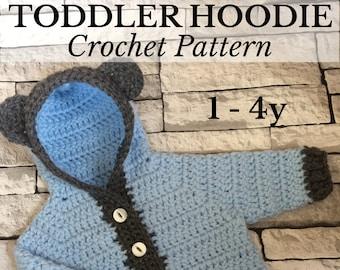 PDF 1-4 yr Toddler Bear Hoodie, Toddler Crochet, Crochet Hoodie, Unisex Hoodie, Crochet Cardigan, Crochet Toddler Gift *Pattern Only*