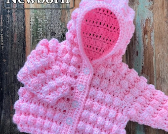 PDF Newborn Baby Bobble Hoodie, New Baby Crochet, Crochet Hoodie, Unisex Hoodie, Baby Photo Prop, Crochet Baby Gift *Pattern Only*