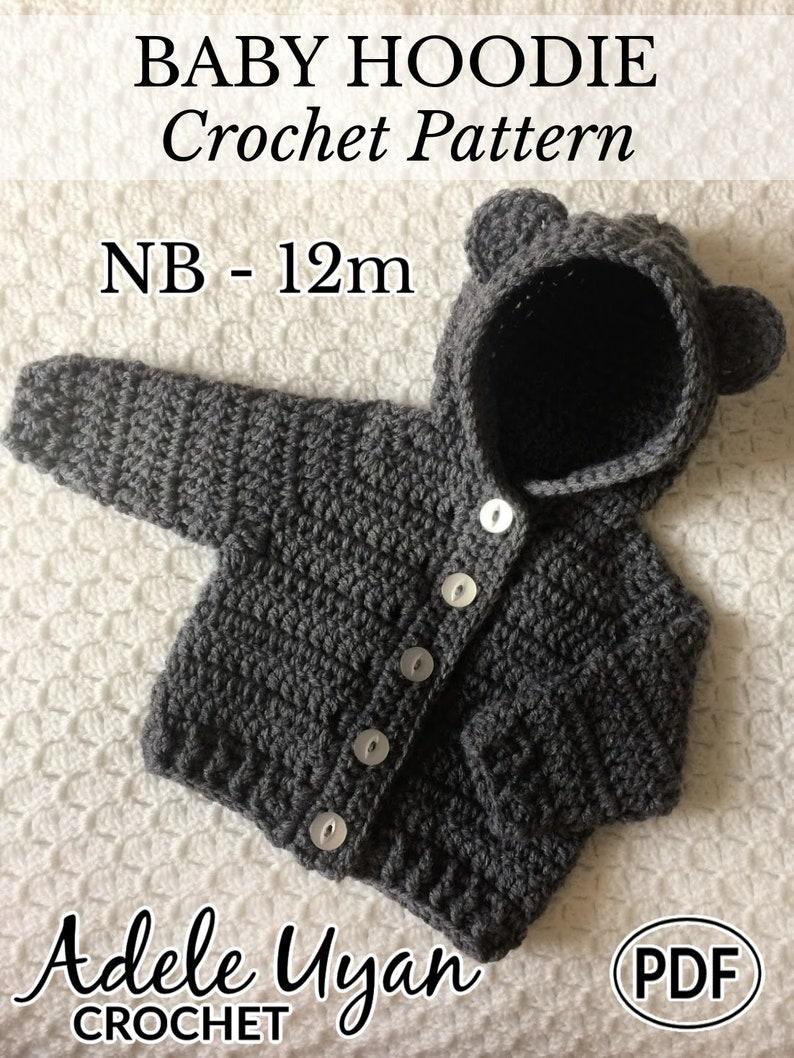 PDF NB-12m Baby Hoodie New Baby Crochet Crochet Hoodie image 0