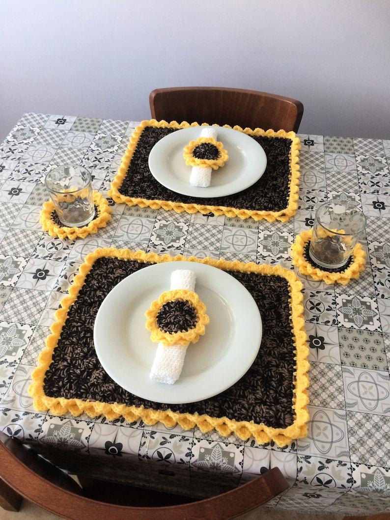 PDF Sunflower Table Set Crochet Tutorial Pattern Only image 0