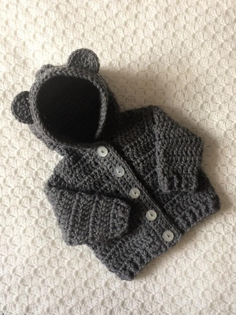 Crochet Baby Hoodie Pregnancy Reveal Unisex Baby Gift image 0