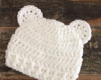 Baby Bear Hat, Newborn Hat, Crochet Bear Hat, Baby Beanie, Baby Shower, Baby Boy Beanie, Newborn Girl Beanie, New Baby Gift, Baby Ears Hat