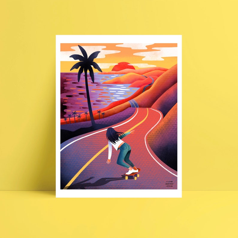 Sunset skateboard poster