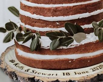 Personalised cake display Log Slice Rustic Handmade Wood Burning Pyrography wedding cake stand wooden names date large log