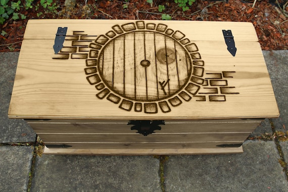 lord of the rings hobbit door furniture trunk blanket box etsy. Black Bedroom Furniture Sets. Home Design Ideas