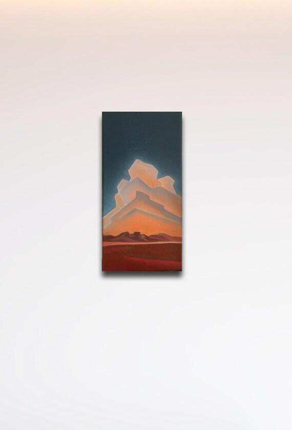 Desert Clouds Sunset Blue Sunset Sunny Orange Landscape Painting Colorado