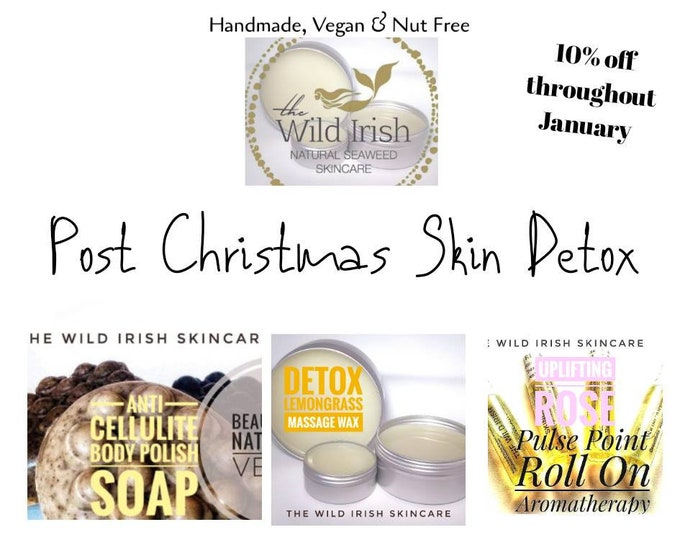 Vegan Nut Free Detox Gift Set. Exfoliation Anti Cellulite Body Scrub Soap, Detox Lemongrass Massage Wax & Uplifting Rose Aromatherapy Perfum