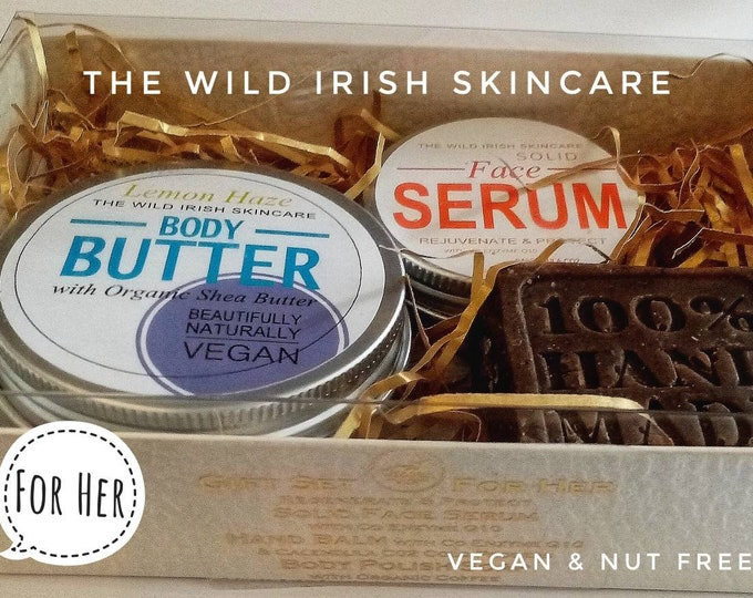 Gift Set For Women. Vegan. Nut Free. Solid High Performance Face Serum, Body Butter & Body Polish Exfoliating Soap.