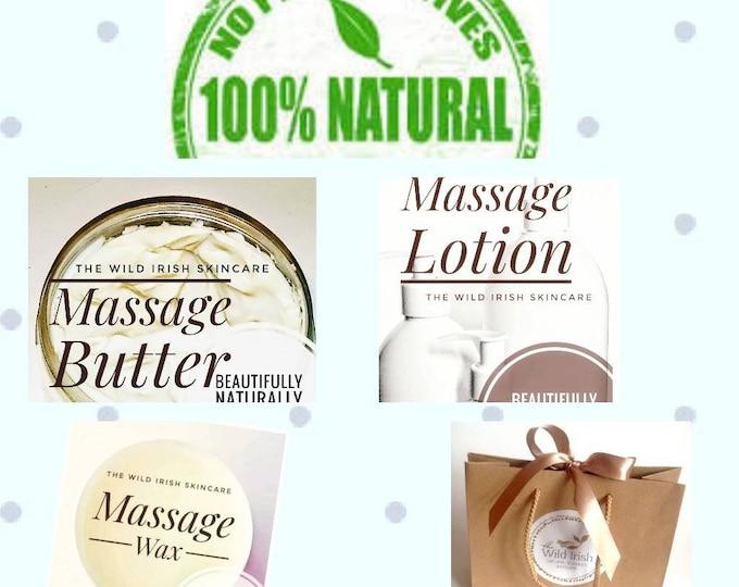 MASSAGE Starter Kit. Nut Free. Vegan. Sports/Relax/Detox/Reflexology. Organic/Natural. Preservative Free