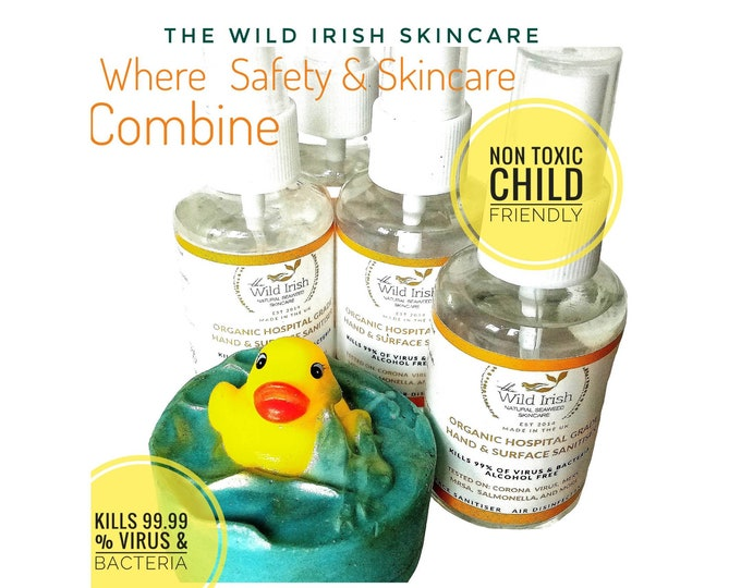 Hand & Surface Sanitiser. Children's Antibacterial Set  Cold Process Soap with Organic, Skin Friendly, Non Toxic Sanitiser x 4.