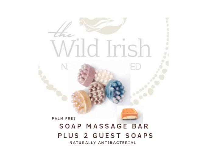 Vegan Soap Gift Set. Massage Large Bar plus 2 guest soaps. Palm Free / Nut Free Soap.