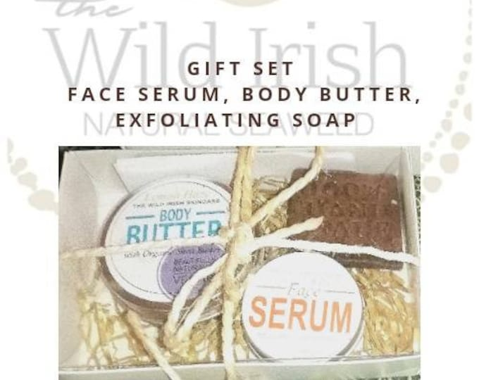 Vegan Gift Set. Anti aging Solid High Performance Face Serum, Natural Body Butter & Body Polish Soap.
