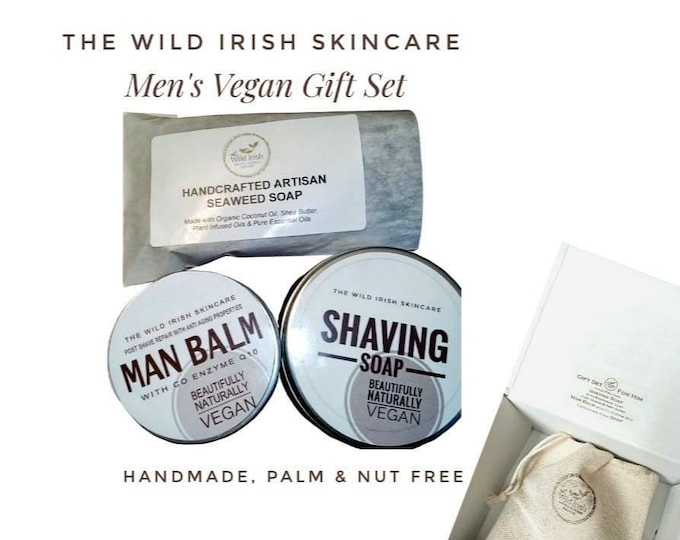 Father's Day Gift. Vegan Shaving Soap, anti aging Face Balm post shave & Hand Soap. Gift Set. Shaving Soap, Post Shave. Cold Process Soap.