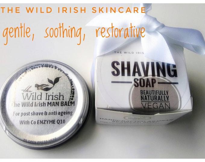 VEGAN GIFT SET for Men. Shaving Soap & Post Shave Face Balm Gift Set. Vegan. 100% Natural. Eco Packaging. No Palm Oil.