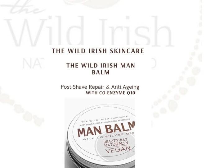 Man Balm. Post Shave Wild Irish MAN BALM. Anti Ageing Co Enzyme Q10. Vegan. With soothing Calendula. 100% Natural Ingredients.