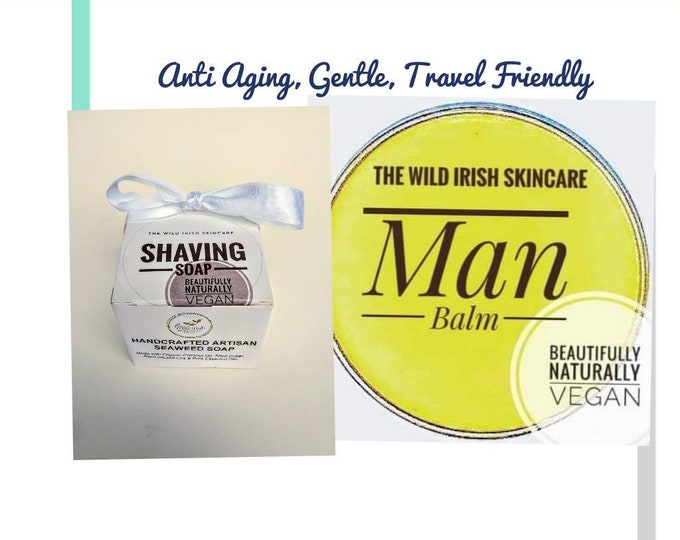 Shaving Soap & Anti Ageing Post Shave Face Balm Gift Set. Vegan. Nut Free. 100% Natural. Eco Packaging. No Palm Oil.
