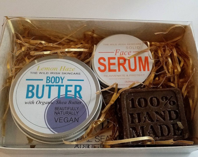 Womens Vegan Gift Set. Solid High Performance Face Serum, Natural Body Butter & Body Polish Soap.