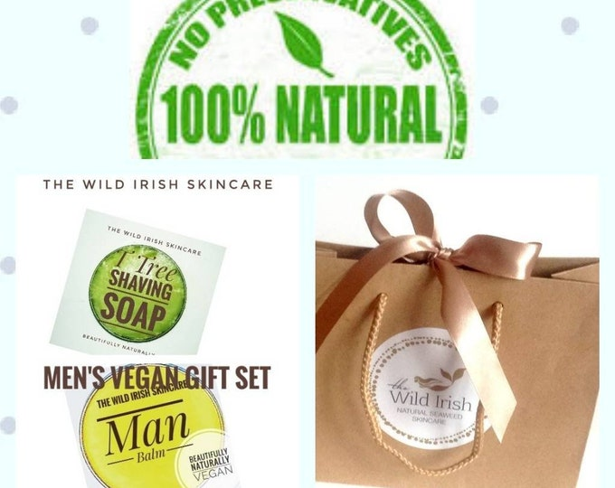 Shaving Soap & Post Shave Face Balm Gift Set. Vegan. 100% Natural. Eco Packaging. No Palm Oil.