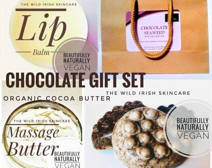 Chocolate Gift Set. Organic Cocoa Massage Butter, Lip Balm, Body Polish Soap Bar. Naturally anti cellulite properties.