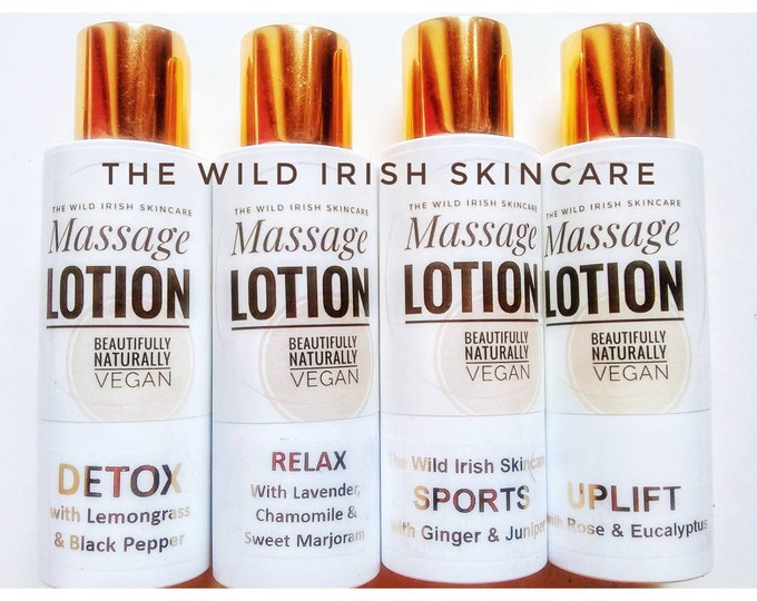 MASSAGE LOTION x 4 100ml. Nut Free. Vegan. Sports/Relax/Detox/Uplift. Organic/Natural. Preservative Free