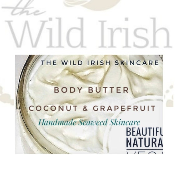 Vegan Coconut Body Butter, with a hint of Grapefruit, made with Seaweed Infused oils. Natural and Organic Ingredients.  Preservative Free.
