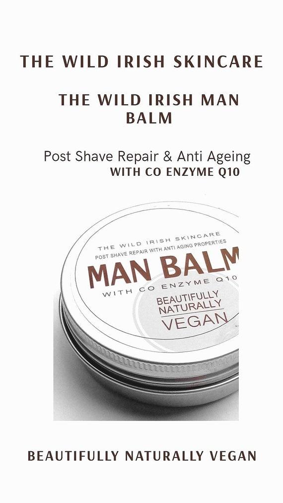 Post Shave Wild Irish MAN BALM. Vegan. Anti Ageing Co Enzyme Q10 & soothing Calendula. 100% Natural Ingredients.