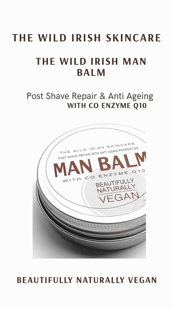 Post Shave Wild Irish MAN BALM. Vegan. With Anti Ageing Co Enzyme Q10 & soothing Calendula. 100% Natural Ingredients.