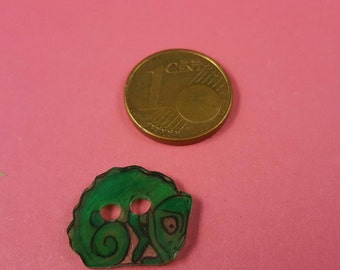 Children subject button, button with Chameleon