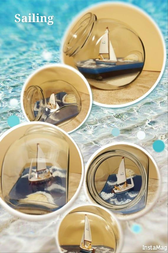 Verre décoratif avec voilier miniature pour tous l'attrape wanderlust