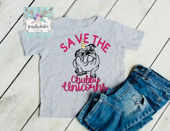 English Chubby Tee Bulldogs Save The UnicornbulldogShirt Youth Girls Grey wOPnk0X8