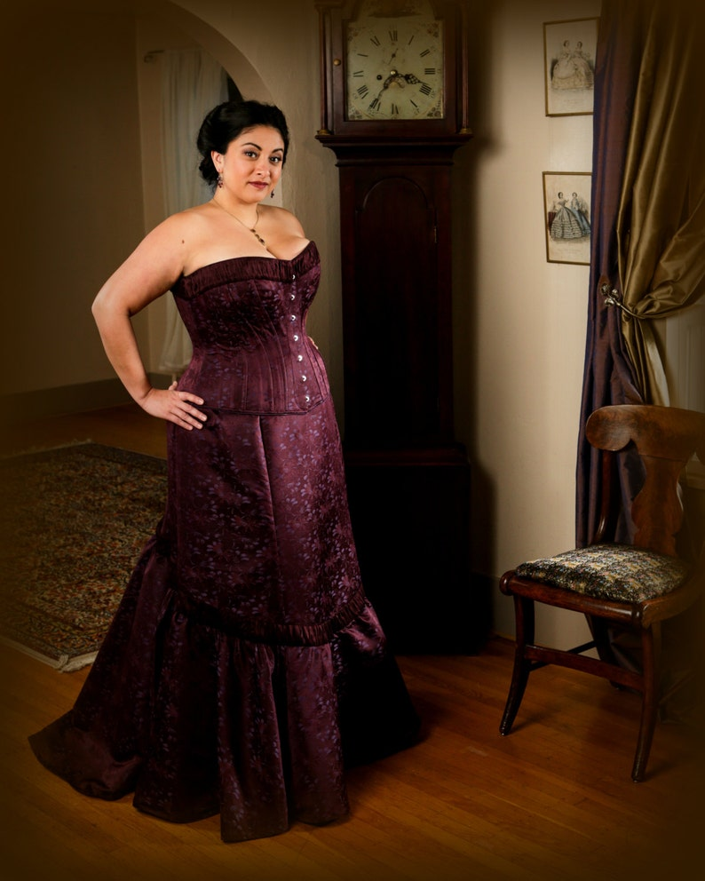 c0e56fc937 Plus Size Wedding Corset Gown Burgundy Brocade Curvy Corset
