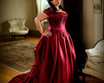 Plus Size Bridal Corset Gown, Bustled Long Train Wedding Skirt Red Brocade Silk Stays Curvy includes free fitting with mock-up