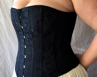 Victorian Corset Plus Size Boudoir any color Brocade Front Busk,Custom Size,Hourglass,Bridal Full figured Wedding Night,Underwear Shaping