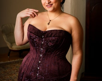 Corset Plus Size Wedding Bridal, Custom Size custom color Fabric, Shapely Hourglass, Front Busk Closure, includes free fitting and mockup