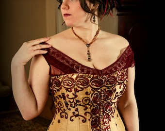 Corset Plus Size Wedding Bridal, Custom Size Custom Color Fabric, Curvy Hourglass, Lightly Boned includes free fitting and mockup