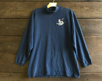 Vintage 90s Mickey Mouse Skiing Long Sleeved Shirt