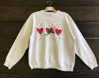 Vintage 90s Hearts and Roses Sweatshirt