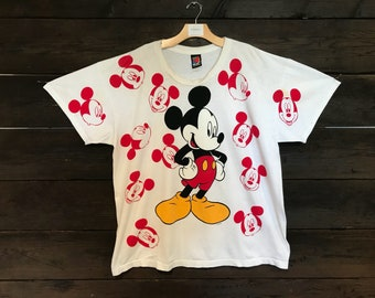 Vintage 90s All Over Layered Mickey Mouse Tee