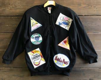 Vintage 80s Patched Beaded Destination Jacket