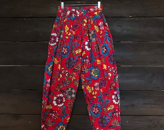 Vintage 90s High Waist Floral Print Pleated Pants