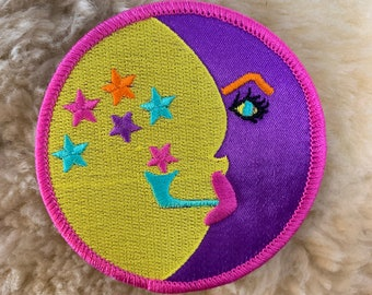 Psychedelic Hippy Chick Embroidered Iron On Patch Girl Music Peace Grovy 152-G