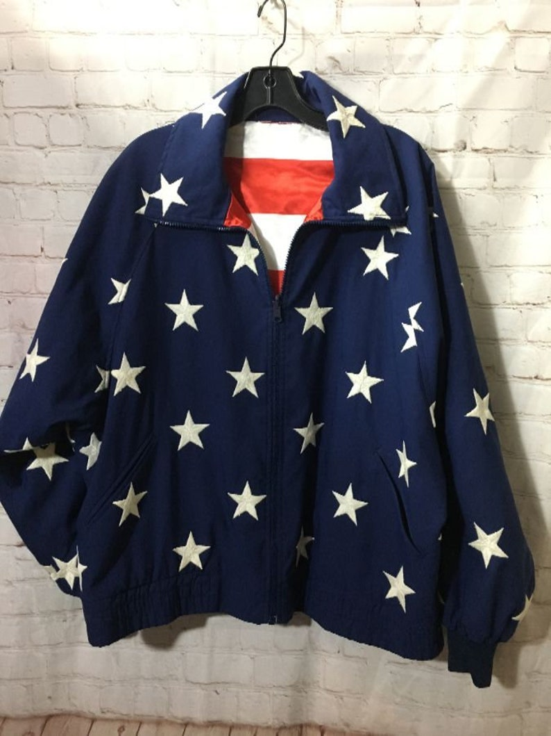 Vintage Reversible American Flag Zip-up Jacket  353f442d7