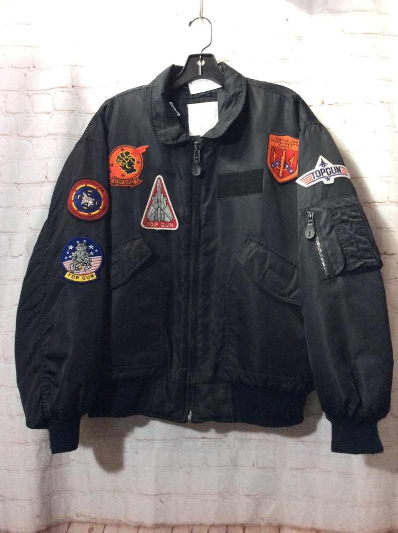 VINTAGE Military Bomber Jacket Zip-up Top Gun Multi  ce3d8242a