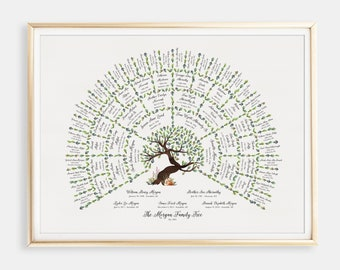 Family Tree Art, Personalized Fathers Day Gift Family Tree Chart, Custom Ancestry Research Keepsake, Grandfather Gift, Genealogy