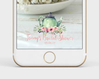 tea party snapchat filter, bridal shower geofilter, bridal shower snapchat filter, tea party shower, custom snapchat filter, snap chat