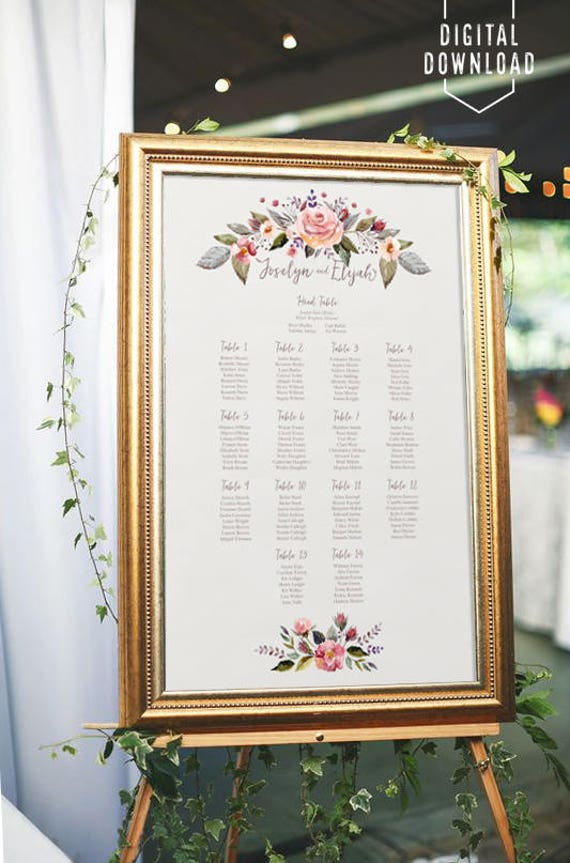 floral wedding seating chart printable seating chart wedding etsy
