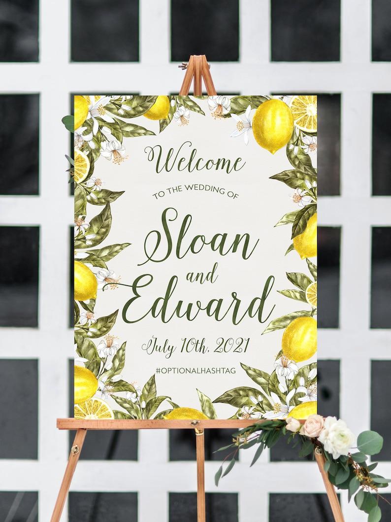 printable yellow citrus reception entrance poster summer destination wedding decor botanical lemon wedding welcome sign