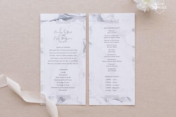 marble wedding programs printable wedding program modern etsy