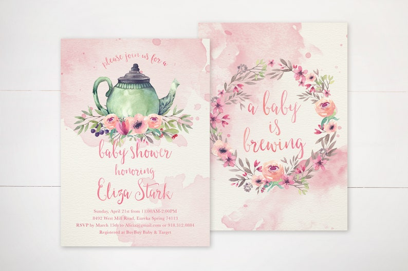 floral baby is brewing invitations pink tea party baby shower invites time for tea tea for two printable girl baby sprinkle invite